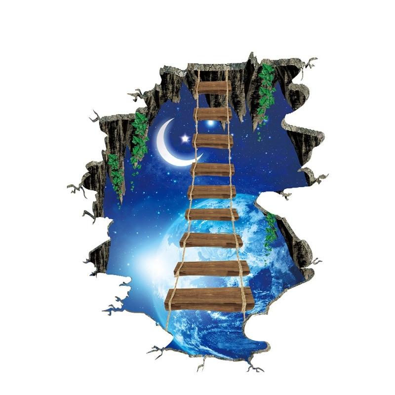 Etiqueta engomada grande del espacio cósmico 3d galaxia estrella puente decoración del hogar para el piso de la habitación sala de estar pegatinas para el hogar