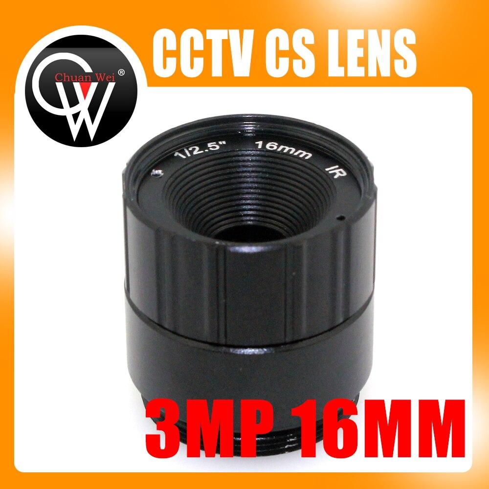"3Mega píxeles 16mm CS lente IR fijo CS lente 1/3 ""CS F1.6 lente para cámara de seguridad cctv envío gratis"