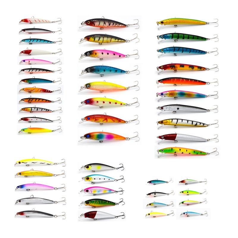 Hot 48pcs/lot fishing lure Set Mixed 6 models fishing tackle 43 color Minnow lure Crank Lures Mix fishing bait