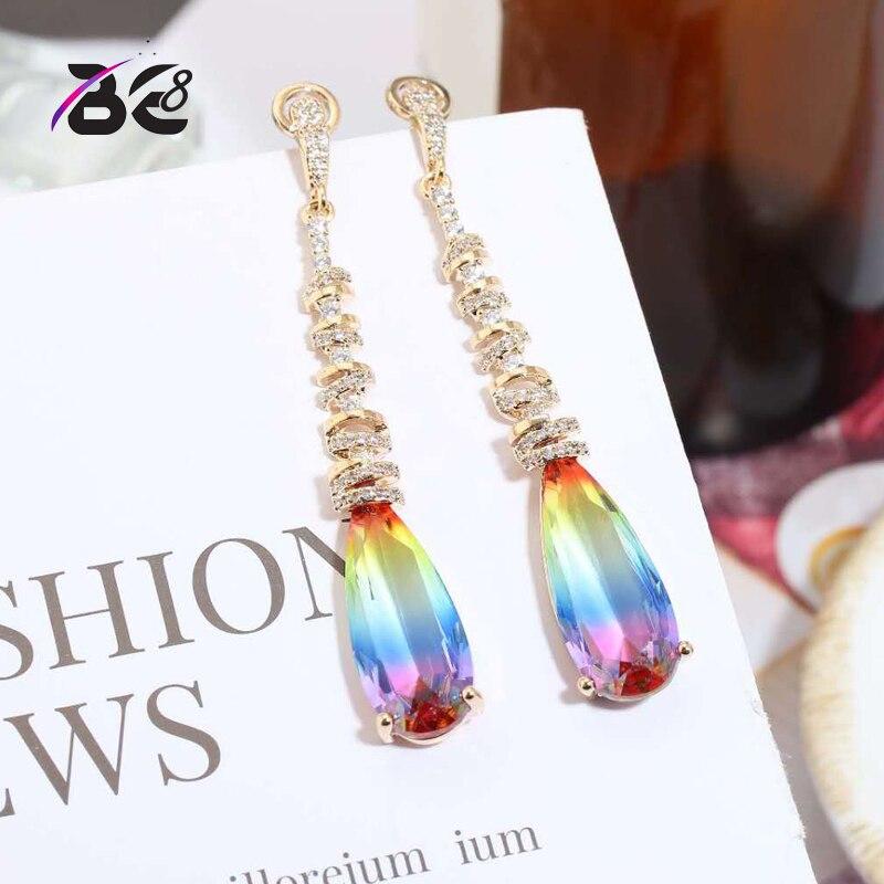 Be 8 New Vintage Statement Earrings Long Drop Dangle Earrings Multicolour Color for Women Fashion Jewelry Boucle D'oreille E749