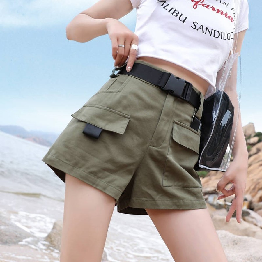 AULEAD Cotton Harajuku Bf Hip Hop Ins Overalls Pocket Shorts Female Summer High Waisted Shorts Women Plus Size Short Feminino