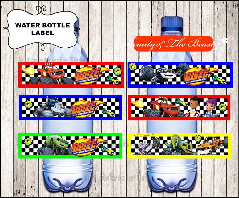 Blaze y the Monster Machines etiquetas para botella de agua, envoltorios, Baby Shower, decoraciones para fiesta de cumpleaños niños, suministros de fiesta dulces