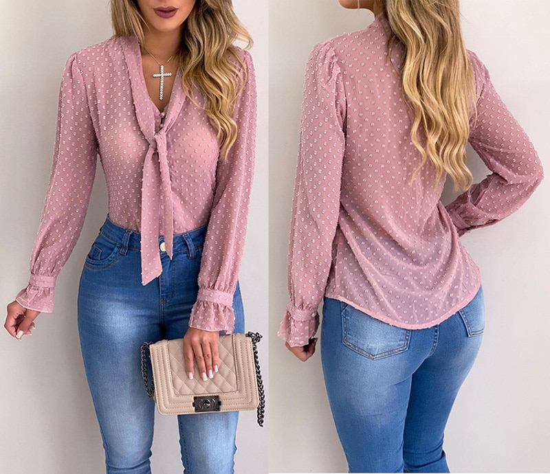 Summer Office Lady Girl Chiffon Button Tie Long Sleeve Blouse Top Tee