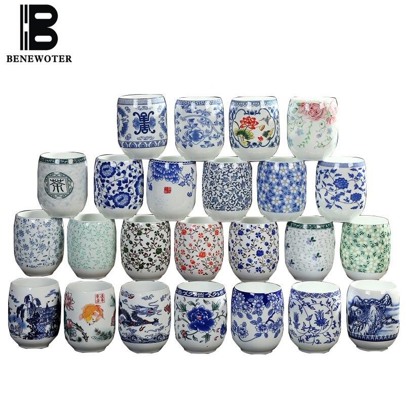 2 unids/lote Jingdezhen taza de porcelana azul y blanca taza de agua de porcelana de cerámica Home Master tazas de té chino Teaware Drinkware