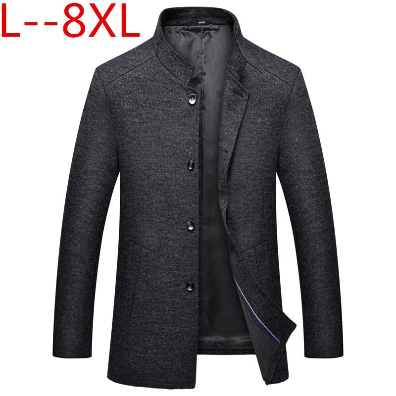 Nuevo abrigo largo de lana de invierno para hombre, abrigo entallado informal grueso para hombre, abrigo cálido rompevientos, gabardina, chaquetas de talla grande 8xl 6xl 5x