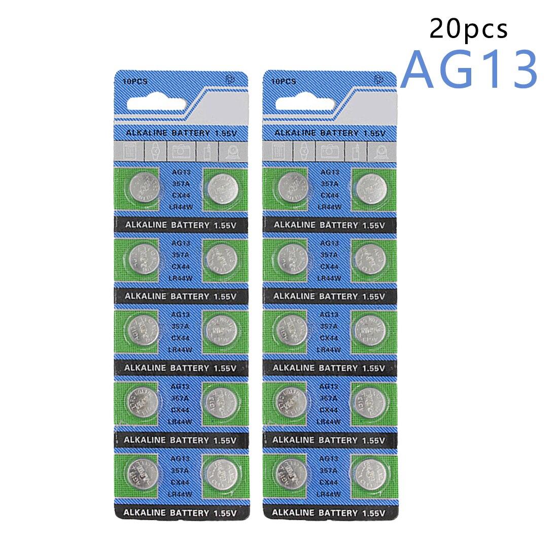 Centechia Top Sale 20 Pcs AG13 LR44 357A S76E G13 Button Coin Cell Battery Batteries 1.55V Alkaline