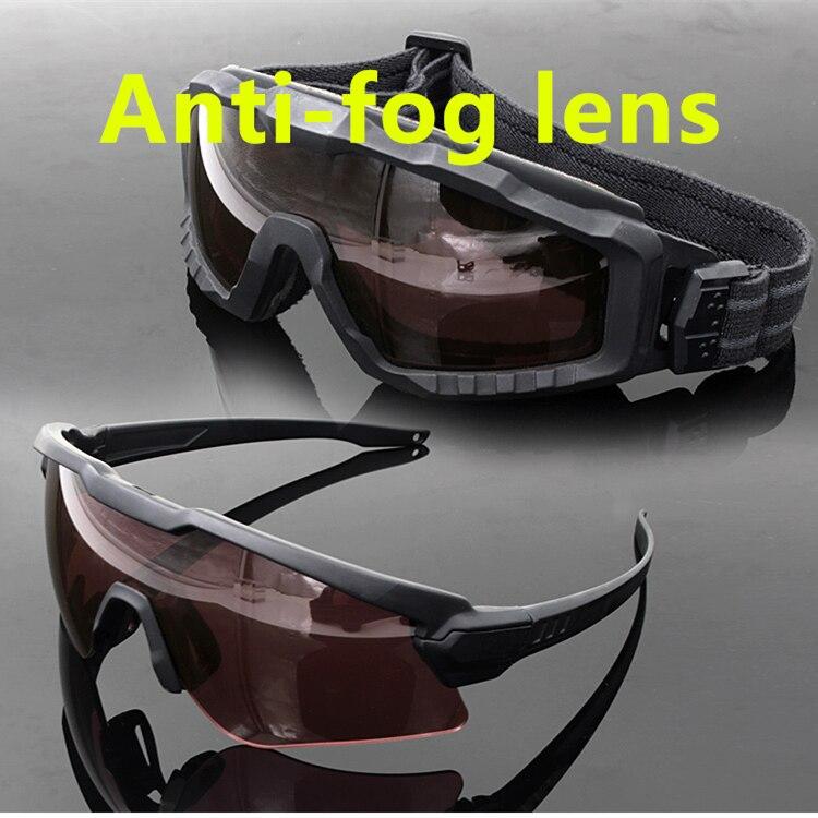 Si m quadro alfa anti-nevoeiro óculos de sol ciclismo óculos de sol militar à prova de bala exército tático óculos mtb tiro eyewear