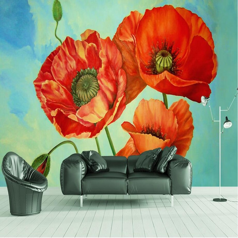 Youman-ورق حائط مخصص عالي الدقة ، صور ثلاثية الأبعاد ، نباتات طبيعية ، زهرة حمراء ، ورق حائط لديكور المنزل ، لوحات زيتية ، أغطية حائط