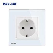 WELAIK fabricant-européen-Standard alimentation-prise verre-panneau mur-prise-ue murale-prise-blanc-mur-prise 16A AC110 ~ 250V A18EW