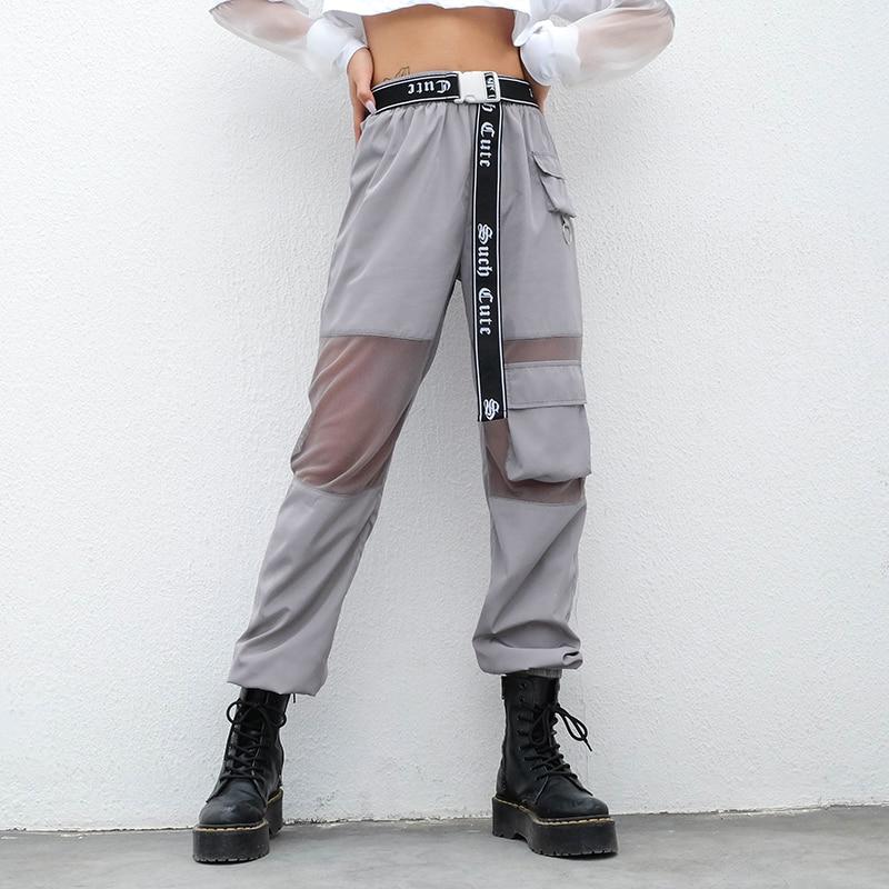 SUCHCUTE Women Pants In a Cage Pocket High Waist Reflective Grey Gothic Korean Style Hippie Joggers Female Korean Style Pantolon