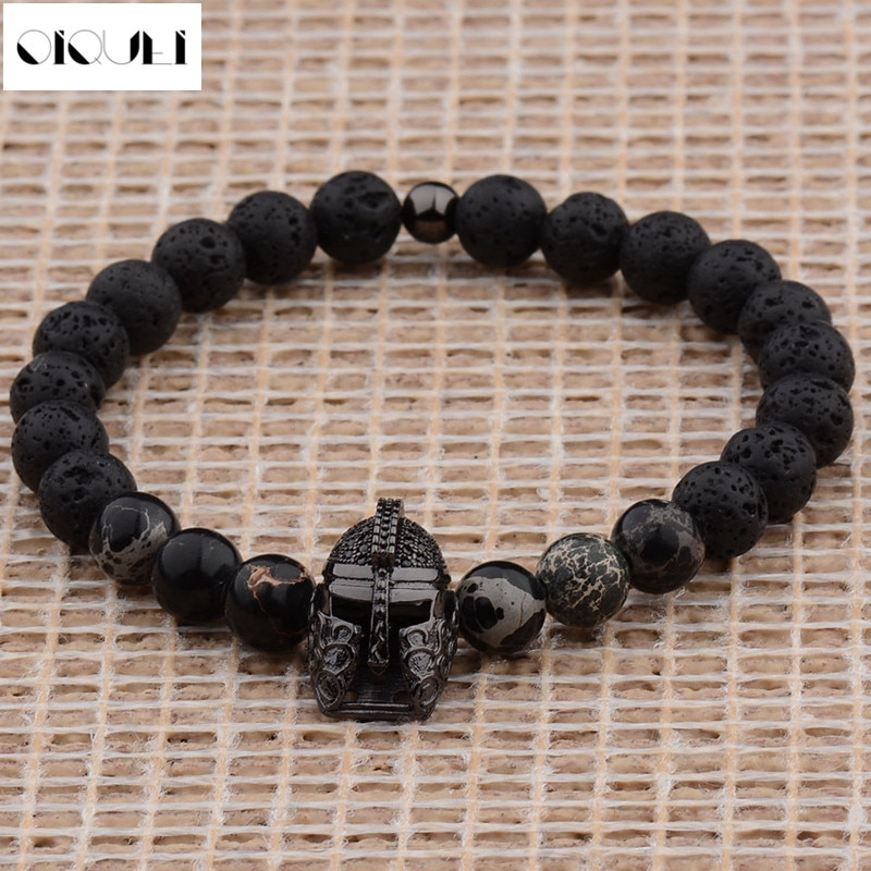 OIQUEI, moda Diy, lujo, Unisex, casco espartano, Zircornia cúbica, 8 MM, cuentas de piedra de Lava, pulseras Para Mulheres