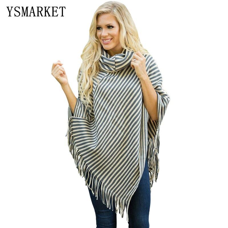 YSMARKET Outono Roupas Xale Cachecol Mulheres Suéter Cinza White Stripes Cowl Neck Top Borla Poncho Camisola Outwear E27740