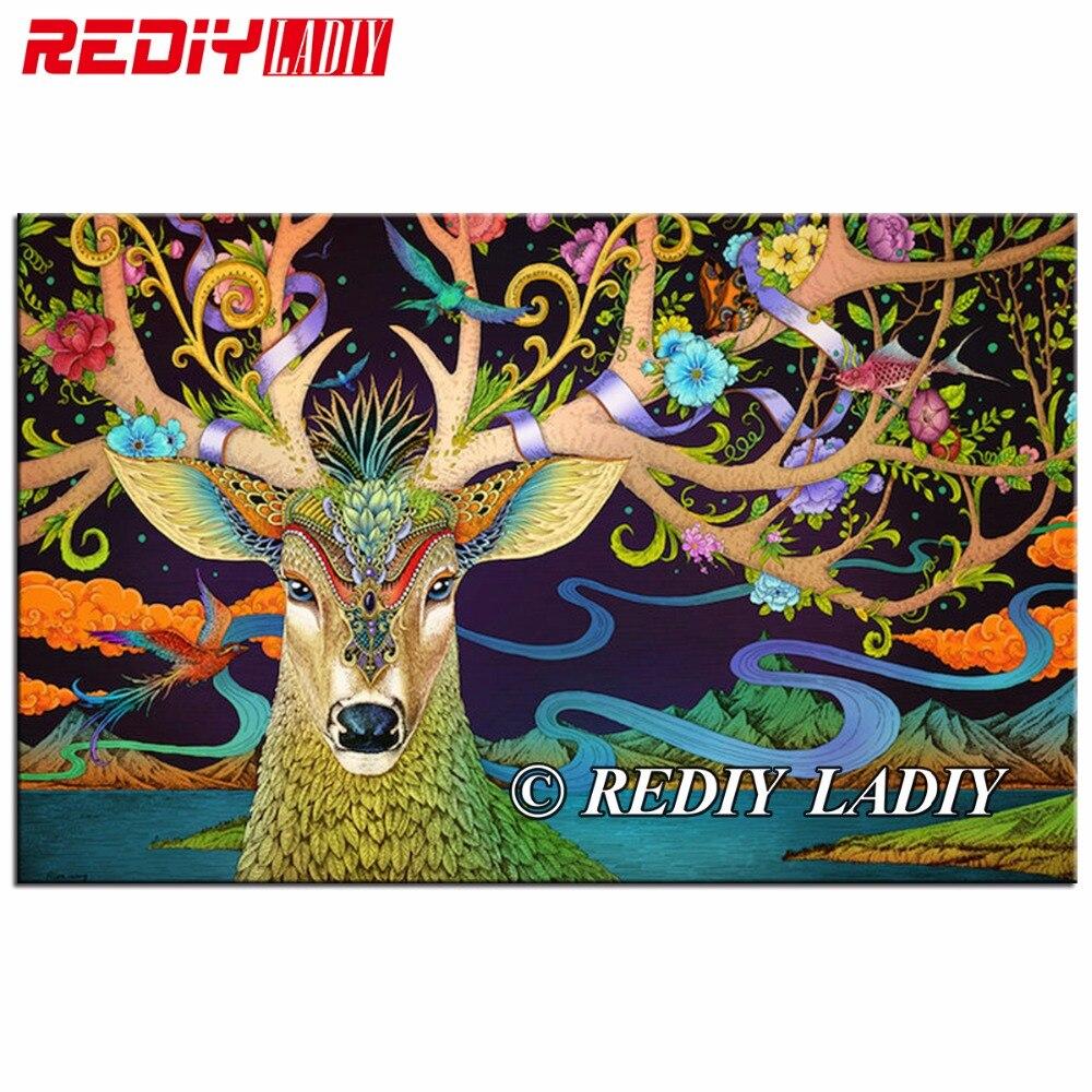REDIY LADIY diamante pintura fantasía Deer resina pedrería pintura mosaico Cruz puntada cuadrado taladro diamante bordado