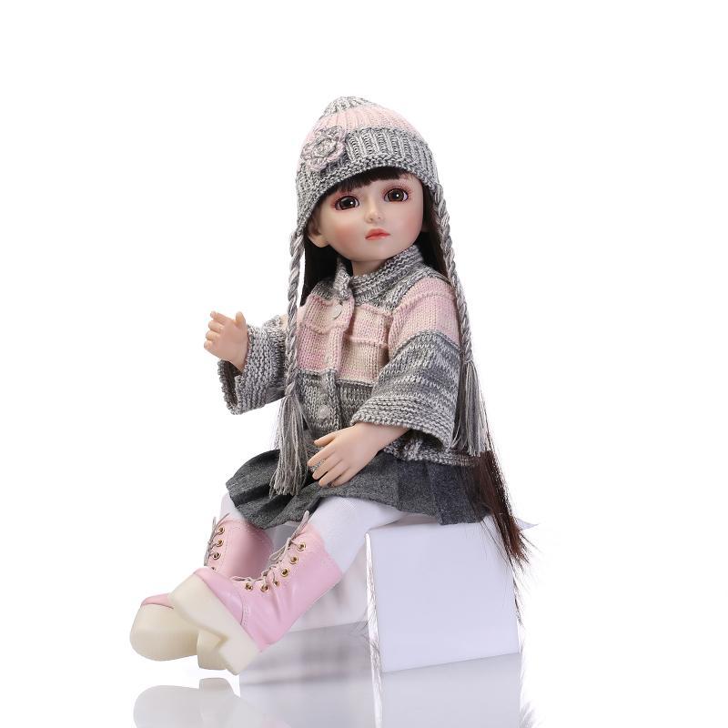 Nicery 16 pulgadas 40cm Bjd Ball Joint muñeca para niña Full High vinilo Navidad juguete para regalo para niños suéter púrpura