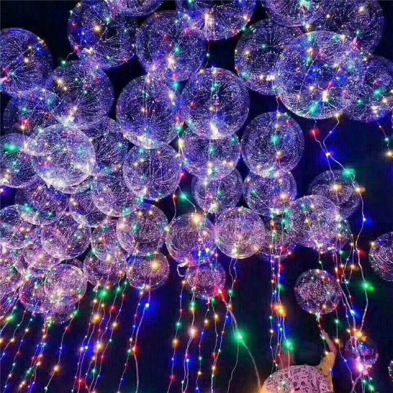 Guirnalda de luces intermitentes de globo con luz LED, bola ondulada de 18 pulgadas, globos de helio, suministros para celebraciones, fiestas, bodas
