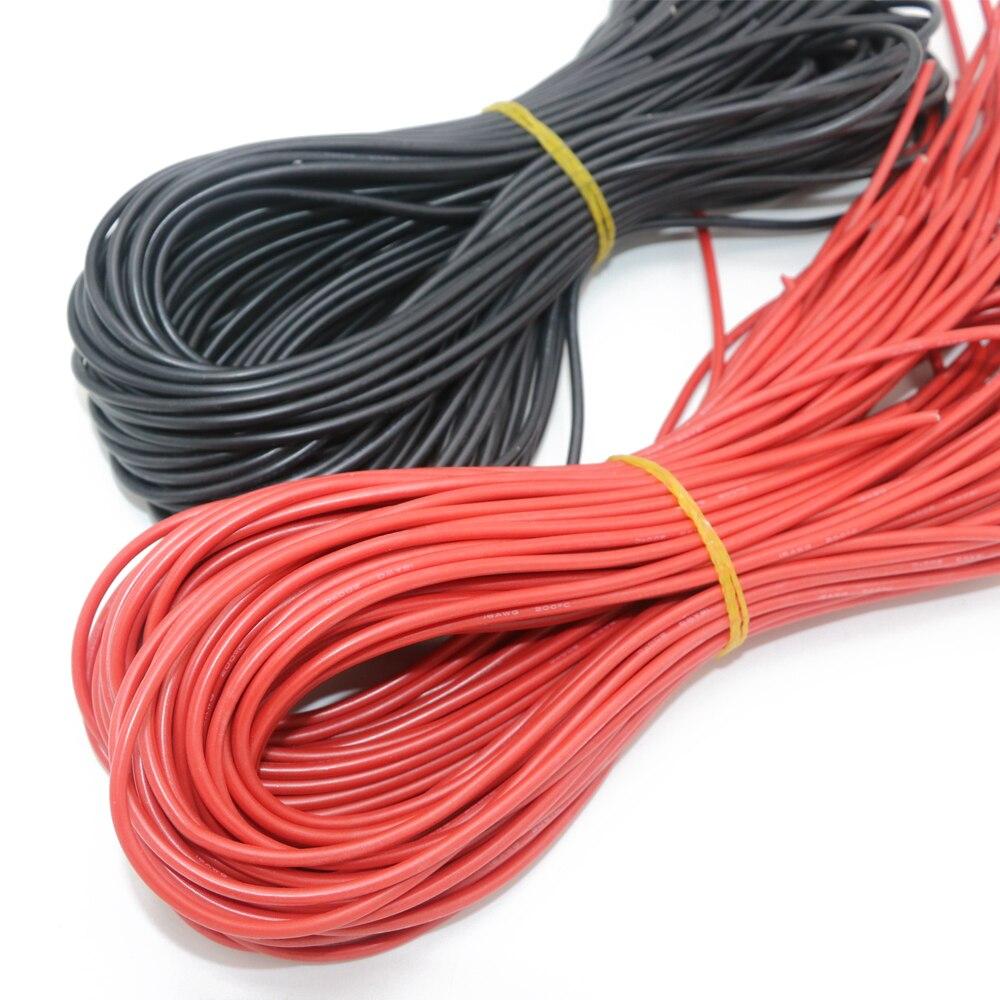 10 meter/los Hohe Qualität silikon draht 10 12 14 16 18 20 22 24 26 AWG 5 m rot und 5 m schwarz farbe