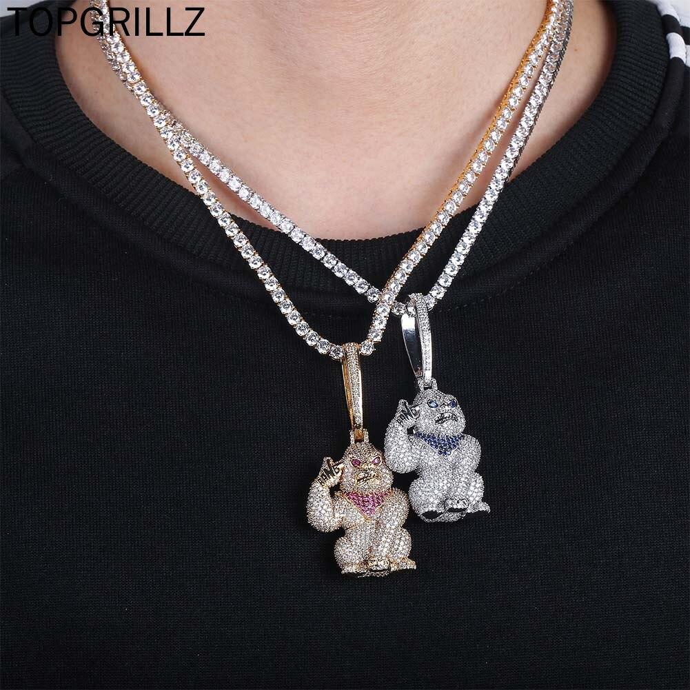 TOPGRILLZ-قلادات وسلسلة بدلاية للرجال والنساء ، مجوهرات هيب هوب من الزركونيا المكعبة باللون الذهبي والفضي