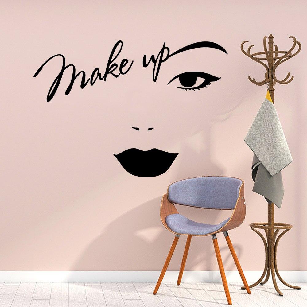 Make-up Wand Aufkleber Vinyl Dekor Für Mädchen Schlafzimmer Schönheit Salon Dekoration Abnehmbare Aufkleber Vinyl Aufkleber Wandbild vinilo decorativo