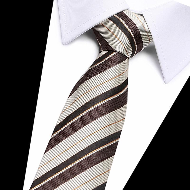 40 Style Brown striped Mens Ties Neck Ties  Silk Gravatas Ties for Men Wedding Suit Dress Blue Orange Red Purple Corbatas Hombre