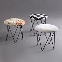 American Style Modern Luxury Upholstered Mushrooms Footstool Round Covered Stool + Iron Leg (4 Legs) Home Furniture