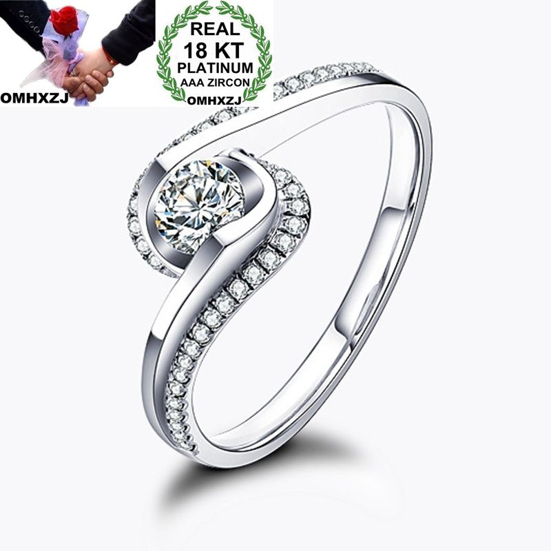 OMHXZJ Wholesale Personality Fashion OL Woman Girl Party Wedding Gift White Slim AAA Zircon 18KT White Gold Ring RN69