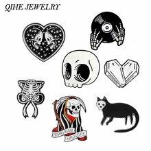 QIHE JEWELRY Skeleton pin Skull pin Vampire brooches Badges Halloween jewelry Goth Punk Dark Black Pins collection