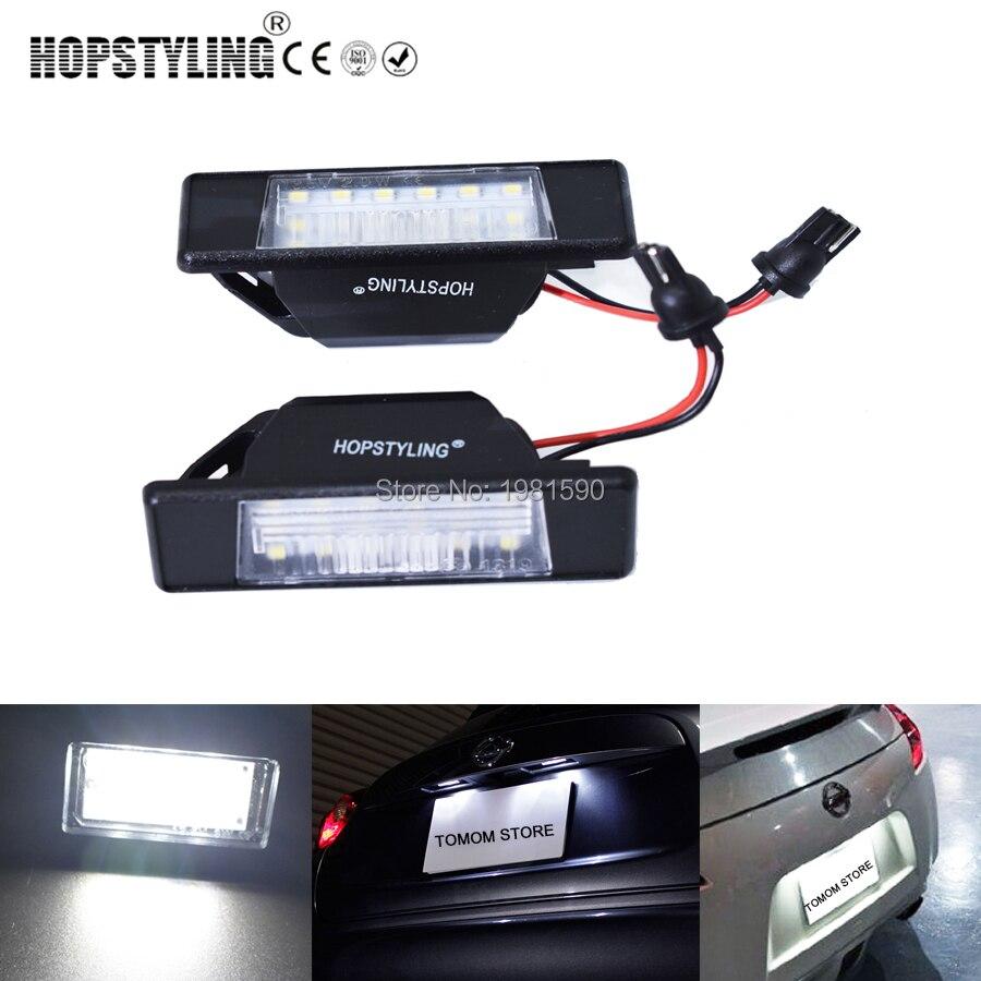 Hopstyle 2x livre de erros xenon branco conduziu a luz da placa de licença para nissan qashqai pathfinder r51 juke primera p12 x-trail lâmpada do carro