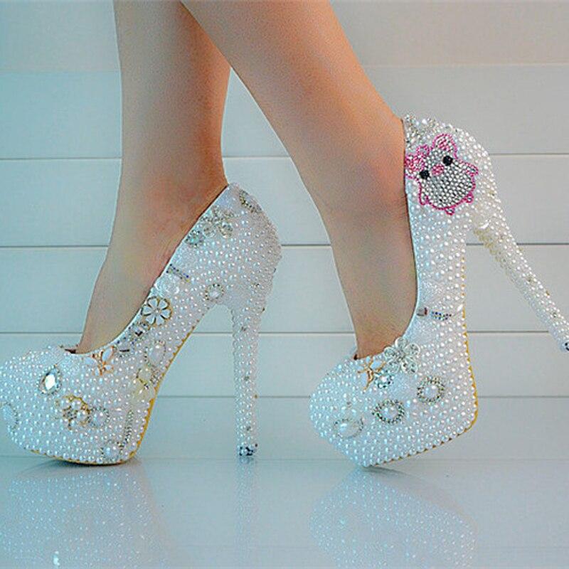 Neuen Stil Weiße Perle Braut Absatz Formelle kleidung Schuhe Plus Größe Plattform Partei Prom Pumpe Liebhaber Schwein Strass Hochzeit schuhe