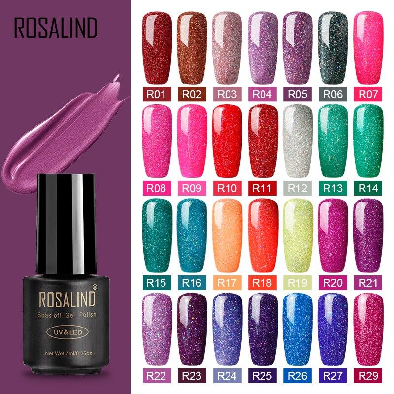 Esmalte de Gel de clavo híbrido ROSALIND para manicura, arte de uñas, 7 ML, barniz de Gel de acrílico de Color arcoíris UV para conjunto de esmalte de uñas, capa superior