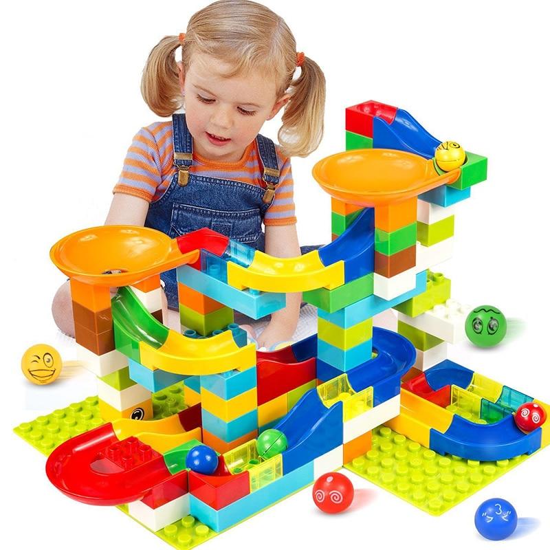 Большой размер строительный блок мраморная гонка бег совместимый Duploed строительный блок Воронка узел скольжения DIY Кирпичи игрушки для дет...