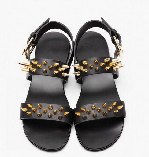 Hot Sell Fashion Summer Punk Style Men Dress Sandal Gladiator Black Casual Flat Spike Studded Shoe Ankle Booties Sandalias size9