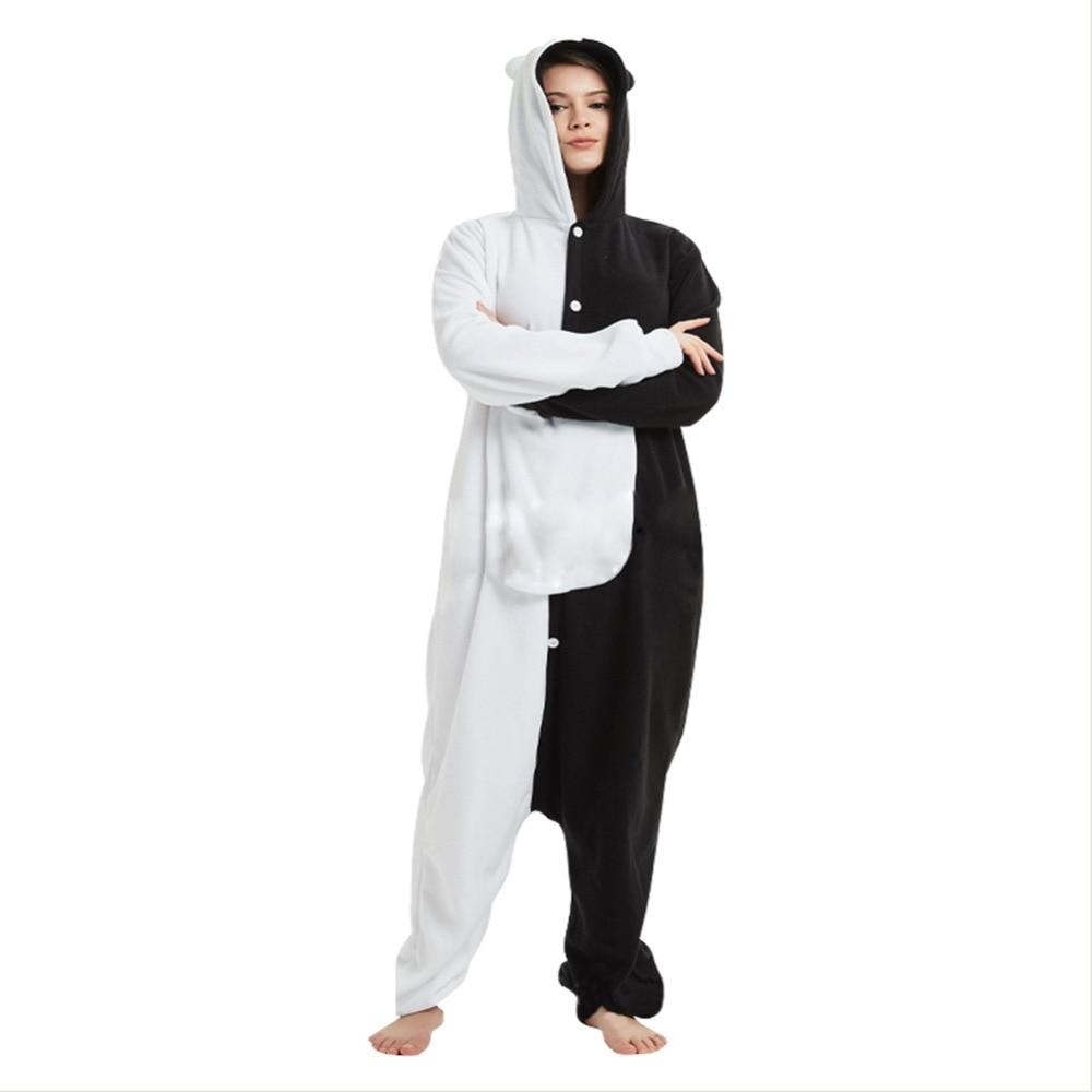 Danganronpa monokuma pyjamas Cosplay unisexe vêtements de nuit adulte monokuma ours pyjamas polaire combinaison Cosplay Costume