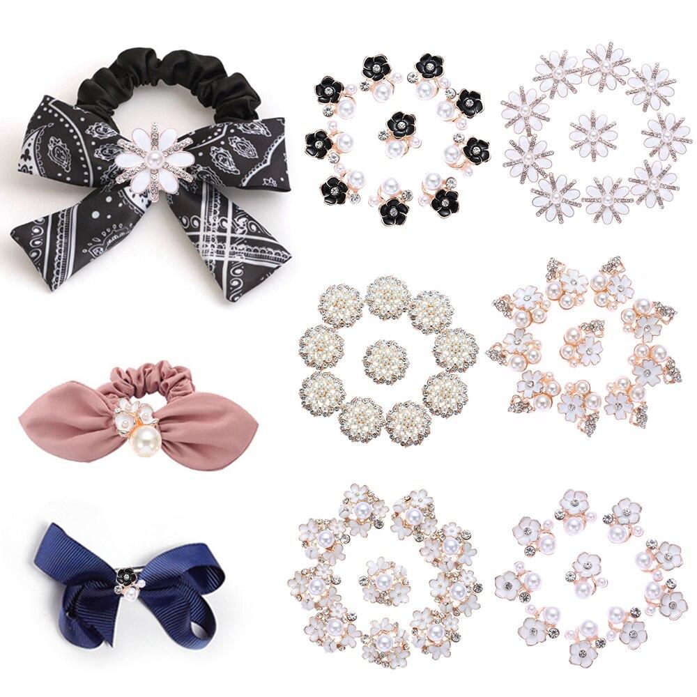 Moda Criativa 10 pçs/set Flor Liga Strass Botões de Pérola Botão Roupas Decoração Diy Arco de Cristal Novos Acessórios De Costura