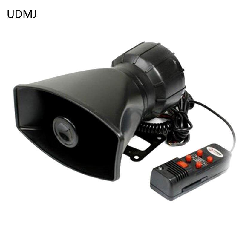 UDMJ دراجة نارية 100W المذيع 5 الأصوات الإلكترونية الشرطة القرن/صفارة سيارة رجال الاطفاء الإسعاف تحذير إنذار مكبر الصوت مع MIC