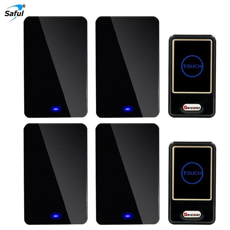 Saful EU/AU/UK/US Plug 110V-220V Wireless Adjustable Doorbell Sound Volume with 2 Outdoor Transmitters+4 Indoor Receivers