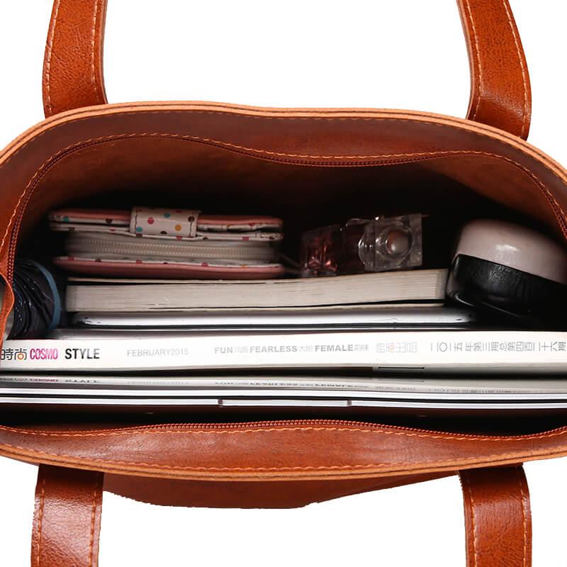 KULUOSIDI New Women Casual Tote Bag With Purse Pocket Large Capacity 2 Sets Composite Bag Women Shouler Bags PU Leather Handbags