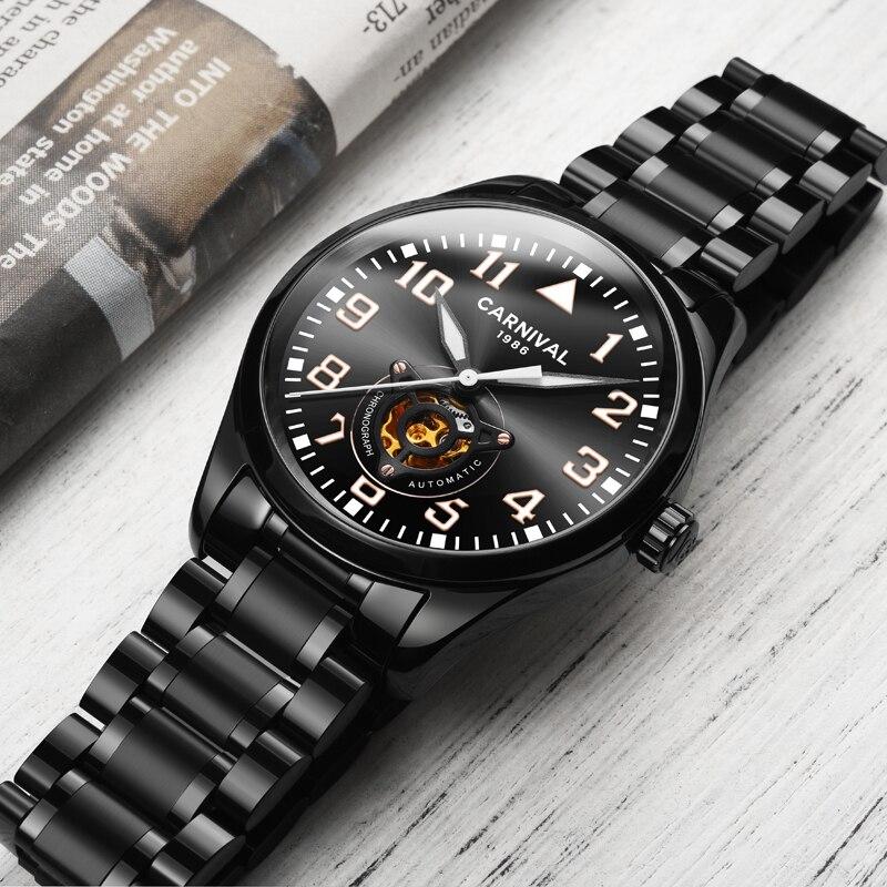 العلامة التجارية الفاخرة كرنفال سويسرا الرجال الساعات الميكانيكية ووتش الرجال الجوف الياقوت هومبر relogio مضيئة الأيدي ساعة C8810-1