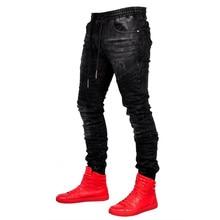 Men Stylish Jeans fashion elastic waist denim trousers Pants Joggers Male Trousers Hip Hop black Skinny Jeans 2019 new