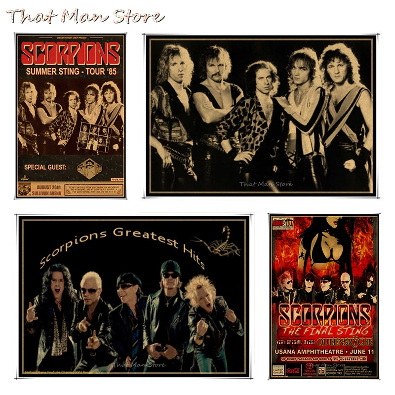 Scorpions vintage retro rock banda música guitarra fosco papel kraft poster adesivo de parede casa decora 30*21cm