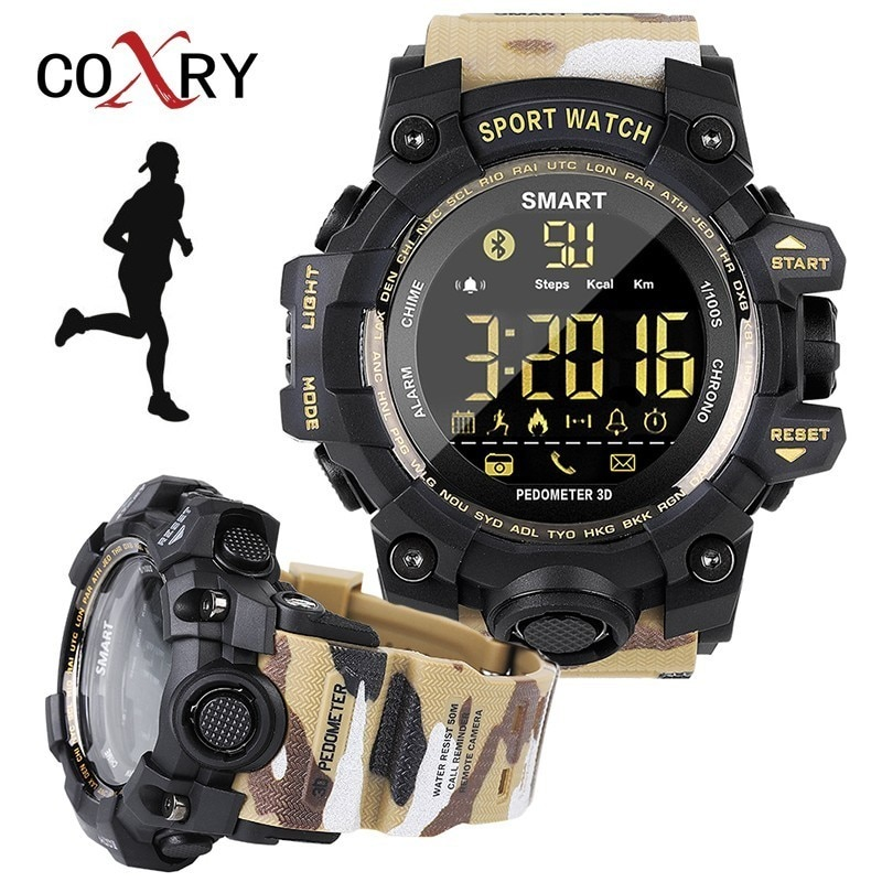 Reloj inteligente COXRY de camuflaje militar, reloj Digital para correr, reloj deportivo para hombre, reloj de pulsera electrónico, cronómetro, reloj inteligente