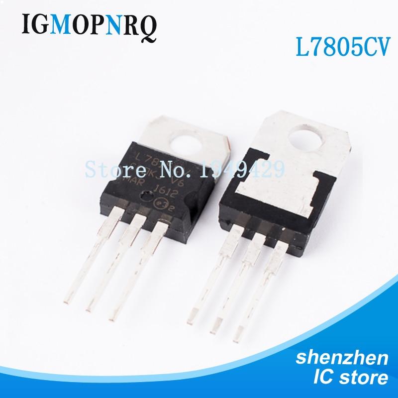 10 unids/lote L7805CV L7805-220 7805 LM7805 MC7805 regulador 5,0 V 1.0A positivo