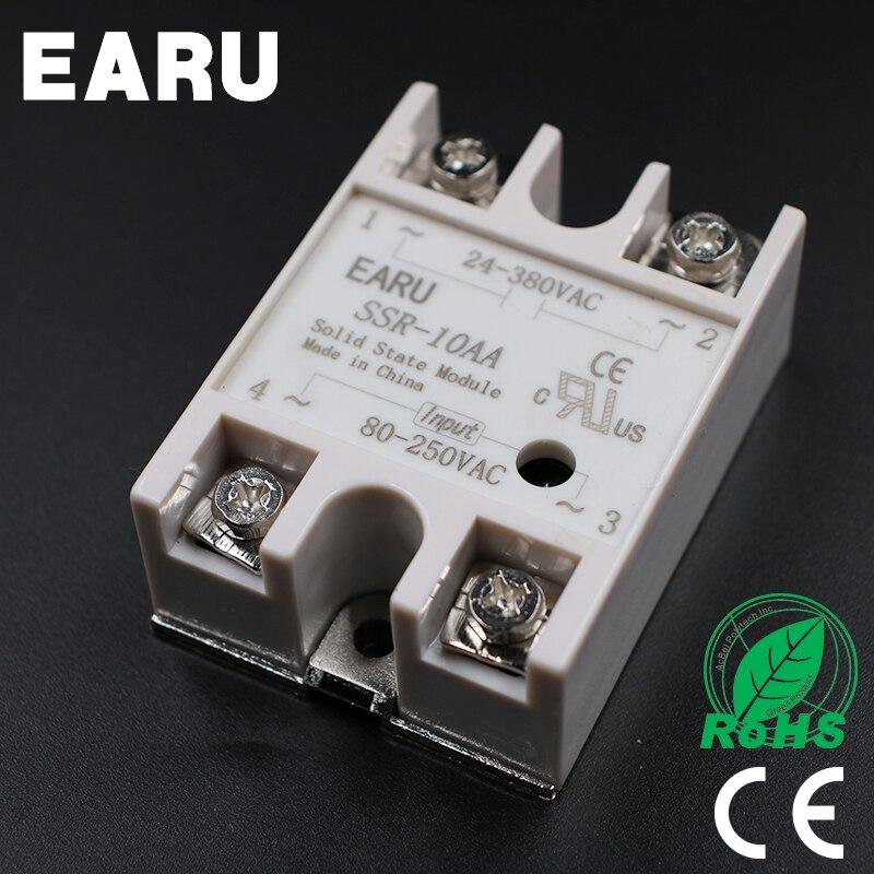 Твердотельный релейный модуль SSR-10AA SSR-10 AA SSR 10A 80-250VAC вход в 24-380VAC выходной Промышленный контроль