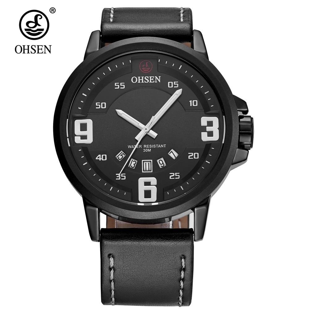 Reloj de negocios OHSEN de moda de marca superior, relojes de pulsera de cuarzo para hombre, estuche de aleación, reloj de pulsera de cuero, reloj de pulsera impermeable