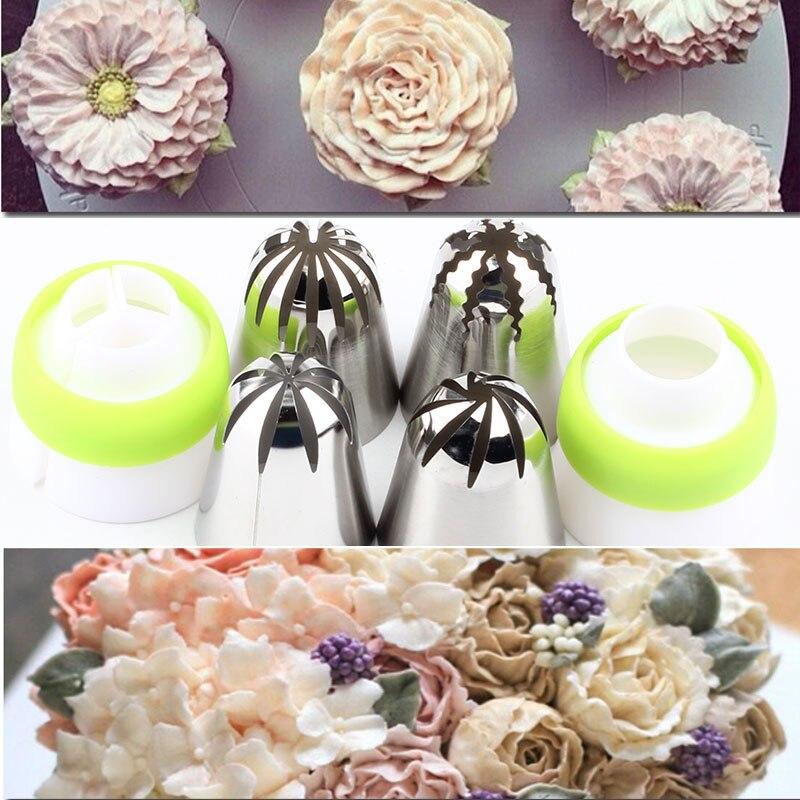 2 koppler Und Rose 4 Pcs Icing Düsen Russische Piping Big Größe Partry Edelstahl Kuchen Creme Backen Dekorieren Werkzeug tipps