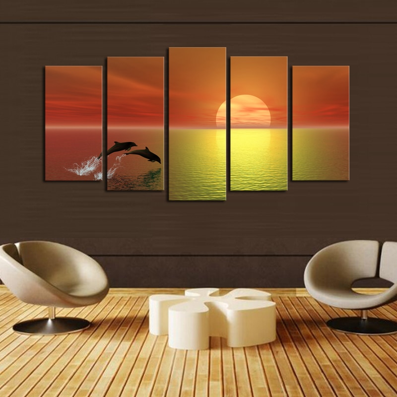 Luxry 5 panels(No Frame)Dolphin Seaview Modern Home Wall Decor Painting Canvas Art HD Print Painting Canvas Pictures Artwork