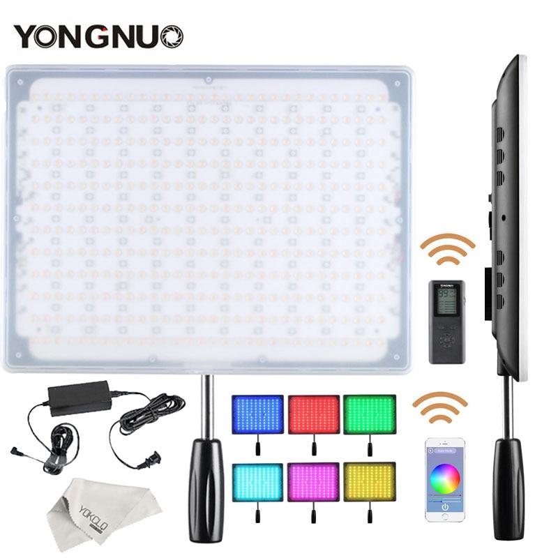 YONGNUO YN600 RGB Ultra delgado vídeo LED/foto luz con temperatura de Color ajustable 3200 K-5500 K + adaptador de corriente