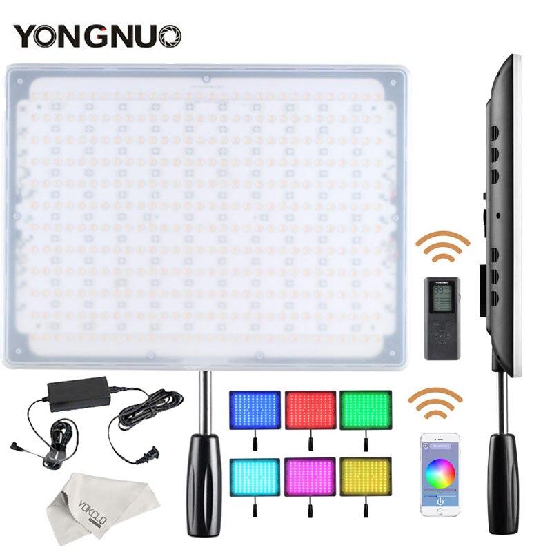 Yongnuo yn600 rgb vídeo ultra fino led/luz da foto com temperatura de cor ajustável 3200 k-5500 k + adaptador de energia