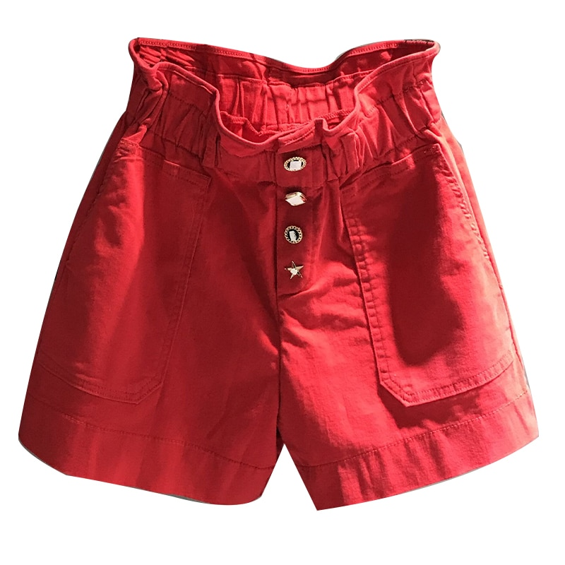 2020 summer new casual red elastic high waist denim shorts women loose wide leg jeans shorts plus size 26-31!