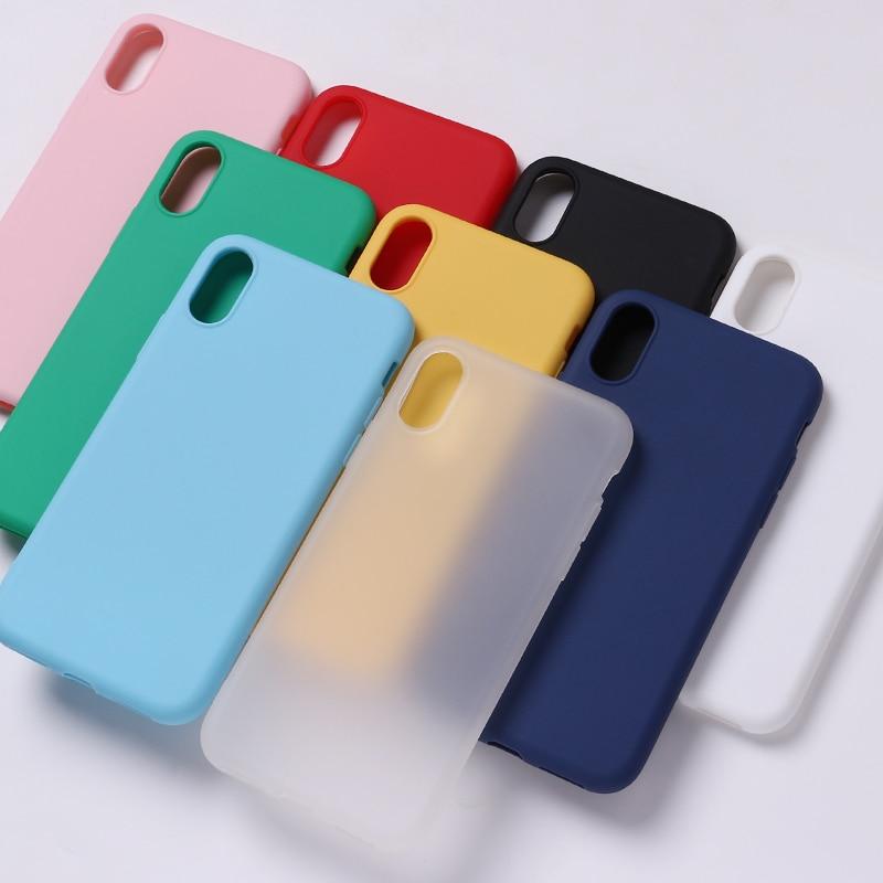 Silicona sólida caramelo mate Simple suave teléfono Delgado Fundas Capa Coque contraportada 11 para iPhone 7Plus 7 6S 5S 8 8Plus X XS Max funda