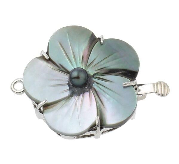 Латунная коробка с застежкой, модные ювелирные изделия, черный корпус, Пресноводный Жемчуг, цветок, серебро, однонитевая, 32x24x8 мм, продается ...